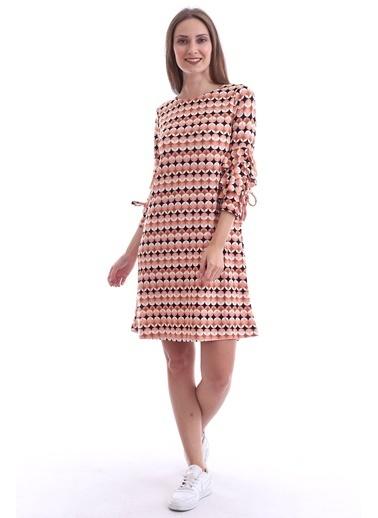 Cottonmood 20073297 Örme Krep Desenli Kolu Katkat Fırfırlı Elbise Pembe